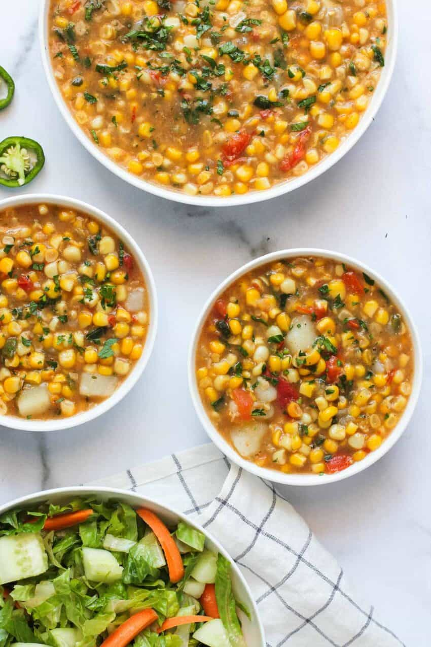 corn chowder in 3 bowls
