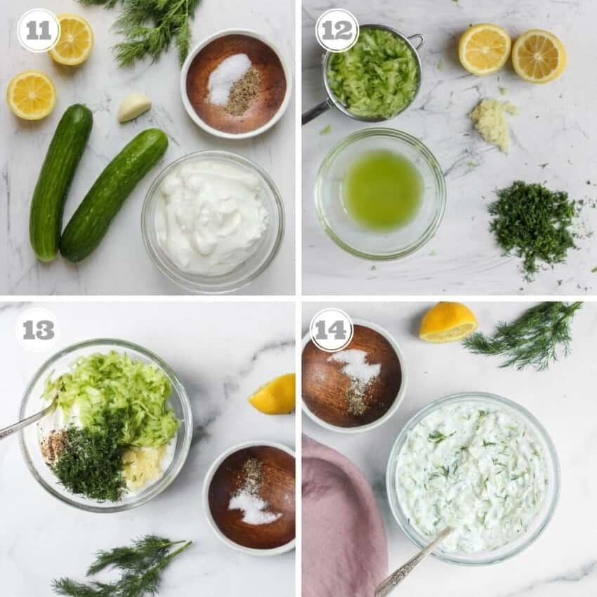 steps showing how to make lemon dill tzatziki