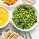 green beans poriyal served with roti, salad, shrikhand, masala