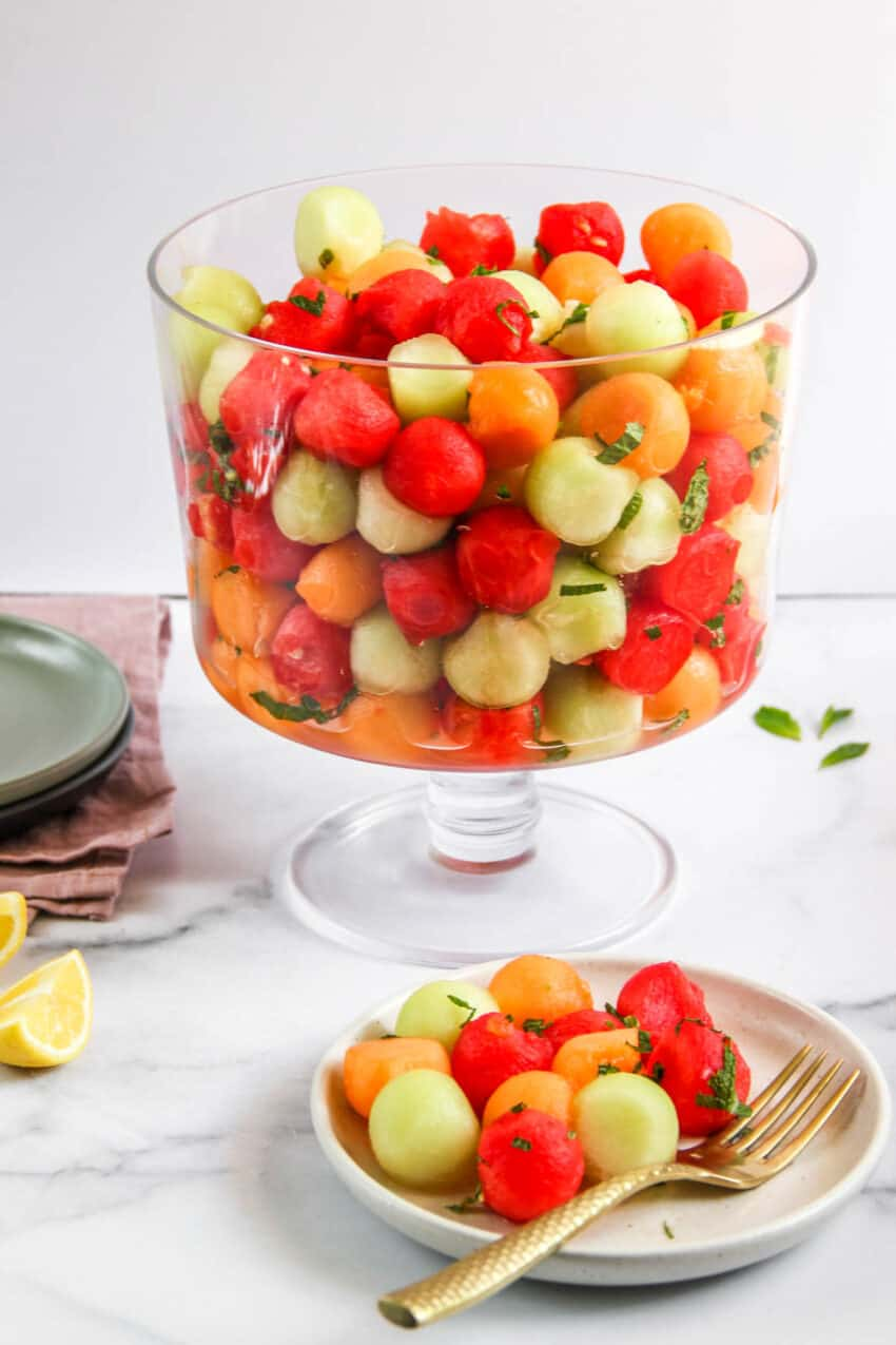 melon salad in a glass triffle bowl