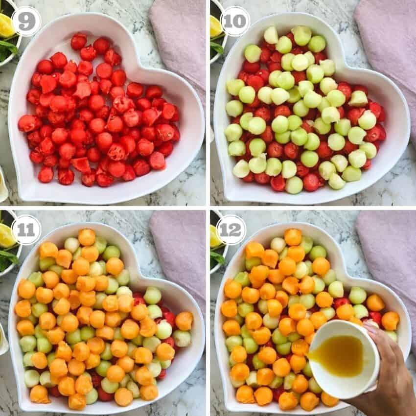 photos nine through twelve showing how to assemble melon balls salad
