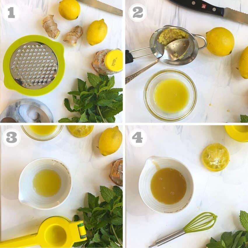 photos one through four of making lemon ginger dressing