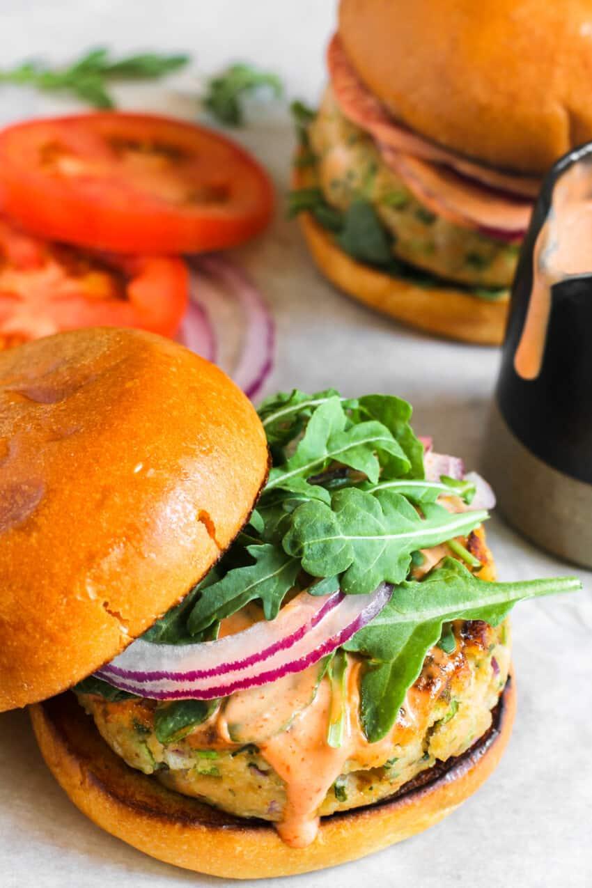 salmon burger on brioche buns