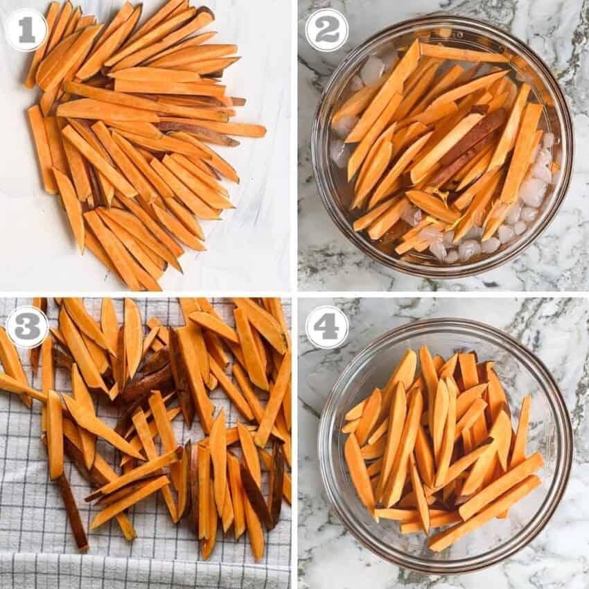 photos one through four showing how to prep sweet potatoes