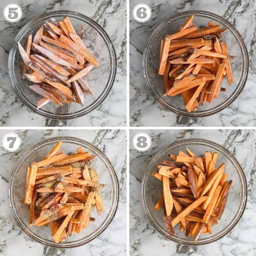 photos five through eight showing how to season sweet potatoes