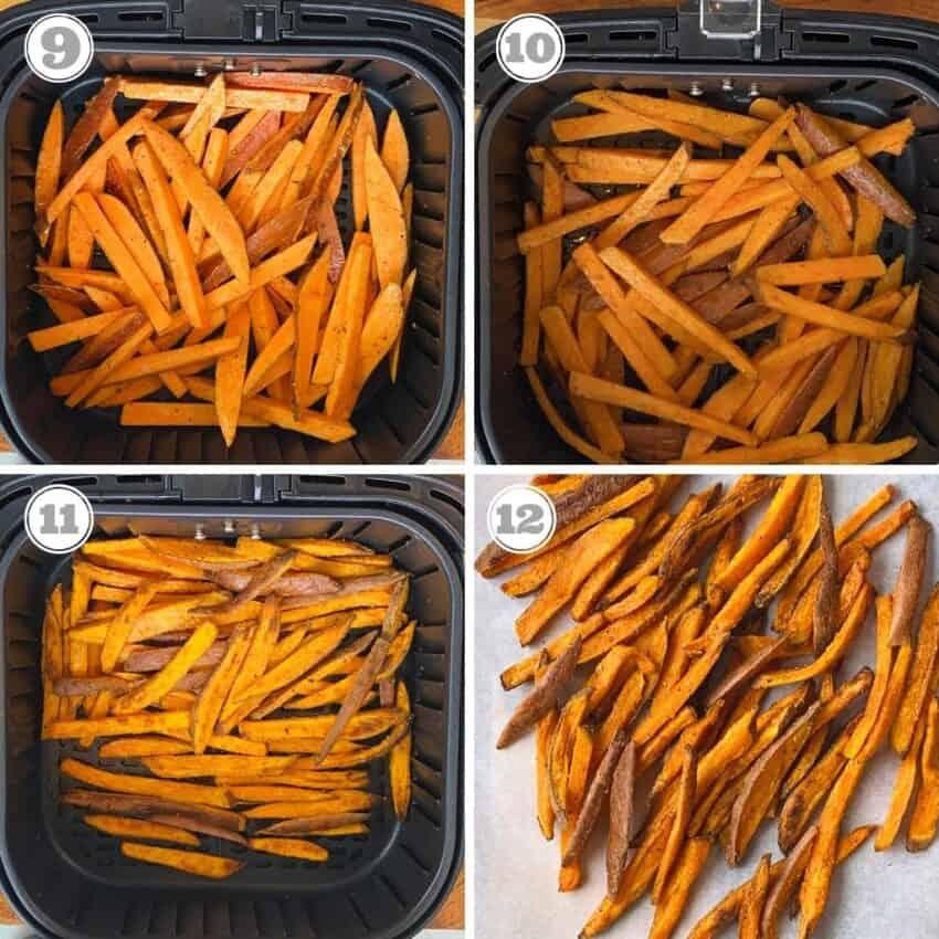 photos nine through twelve showing how to air fry sweet potatoes