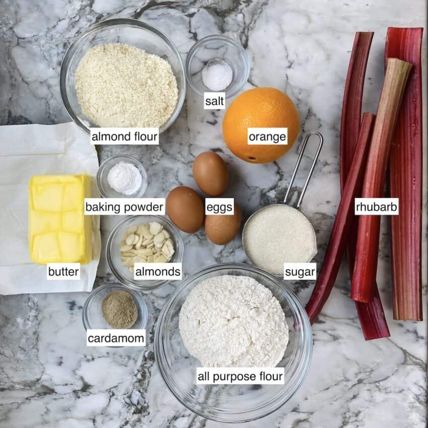 ingredients for rhubarb, orange and cardamom cake