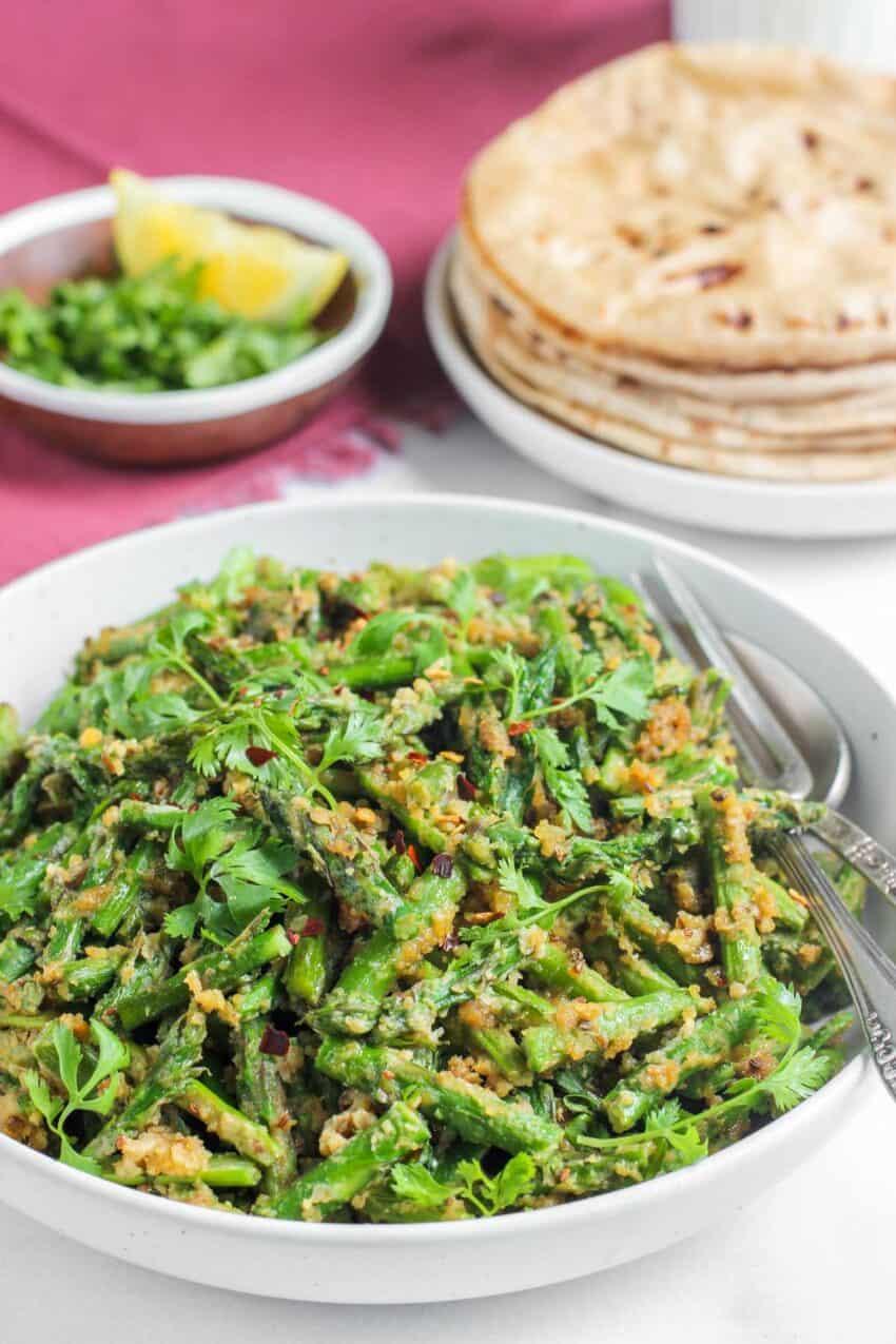 asparagus stir fry Subzi with roti
