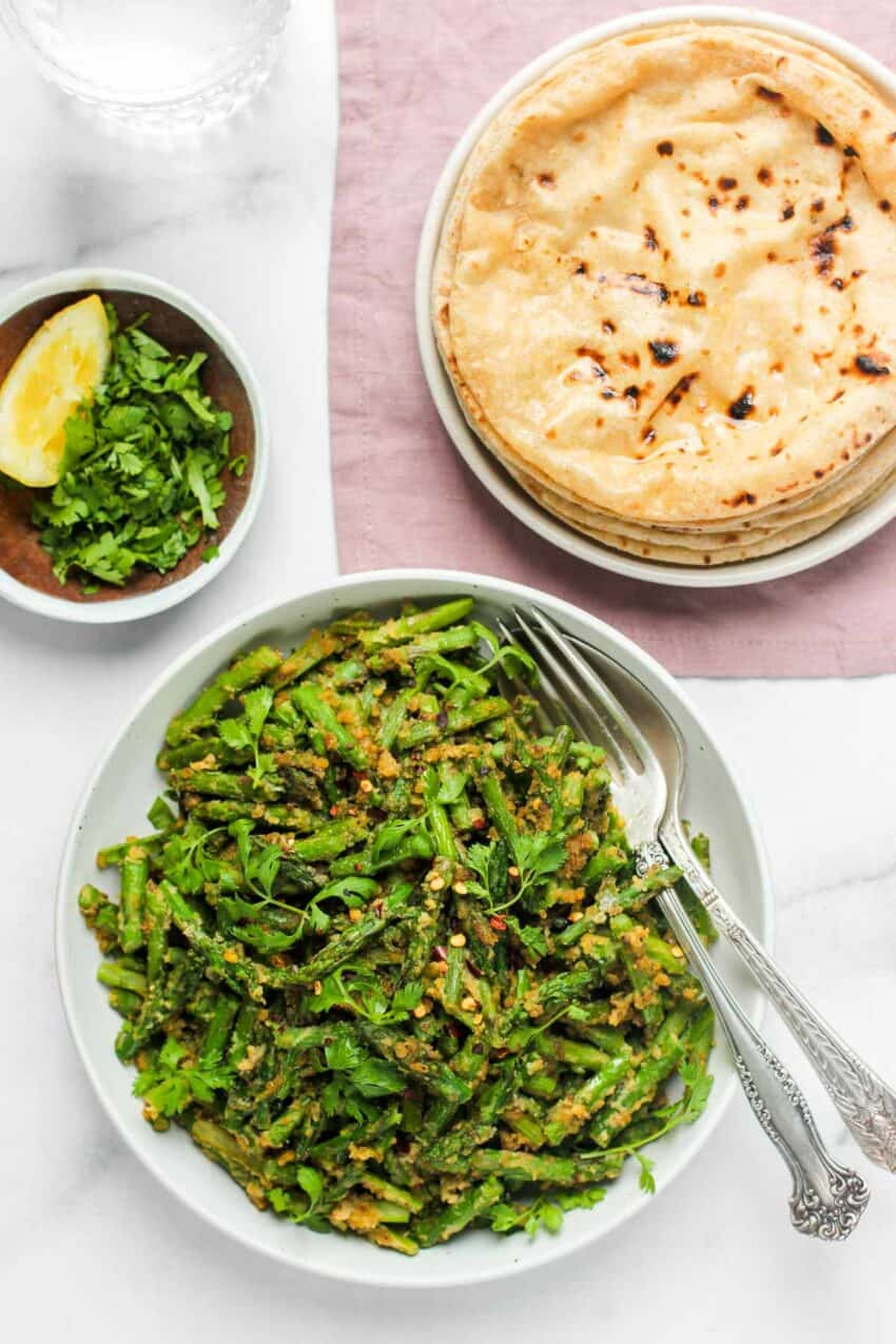 Asparagus stir fry served with roti