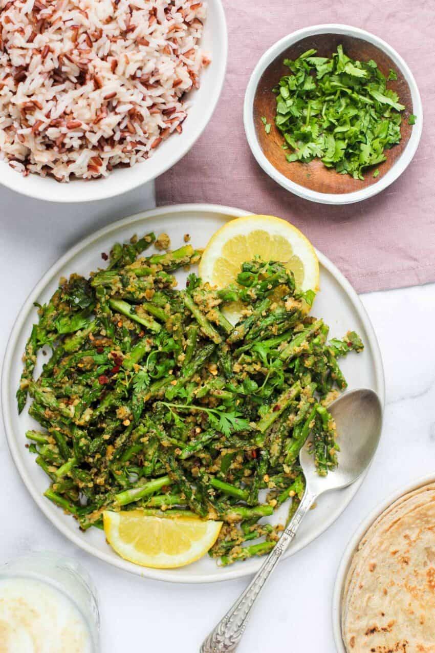asparagus stir fry Subzi with rice