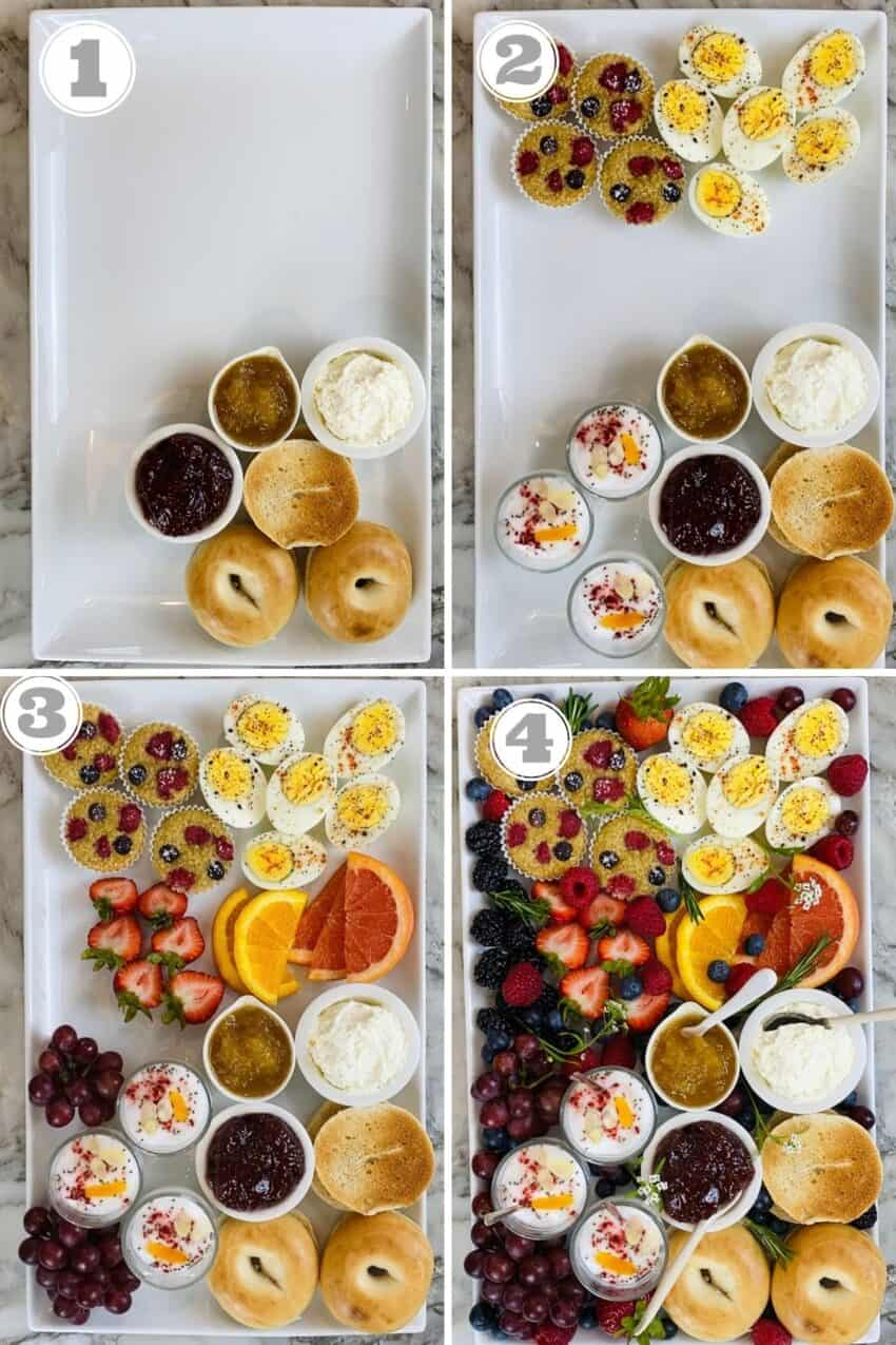 steps one through four of putting together breakfast board