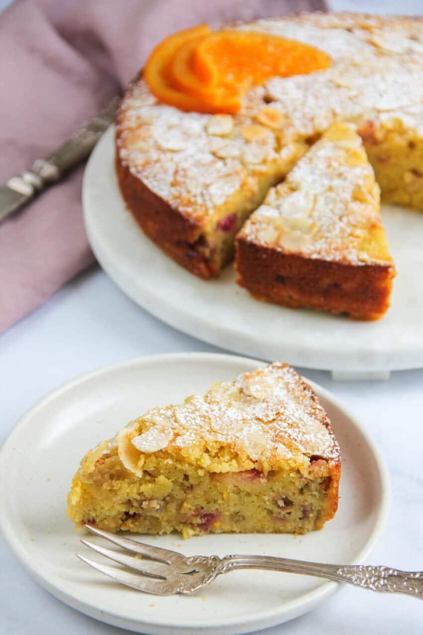 Slice of rhubarb almond cake