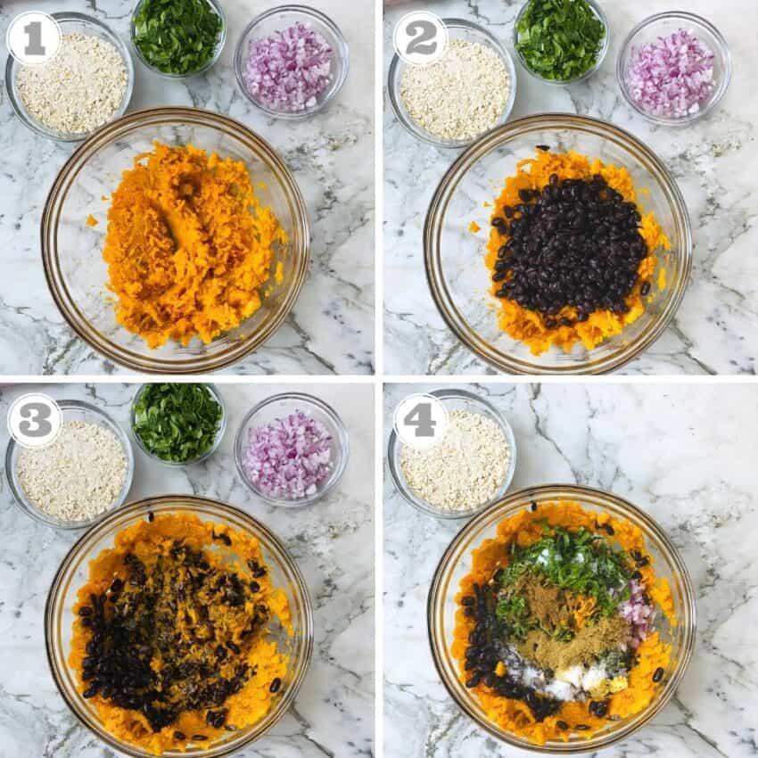photos one through four showing how to make black bean burgers