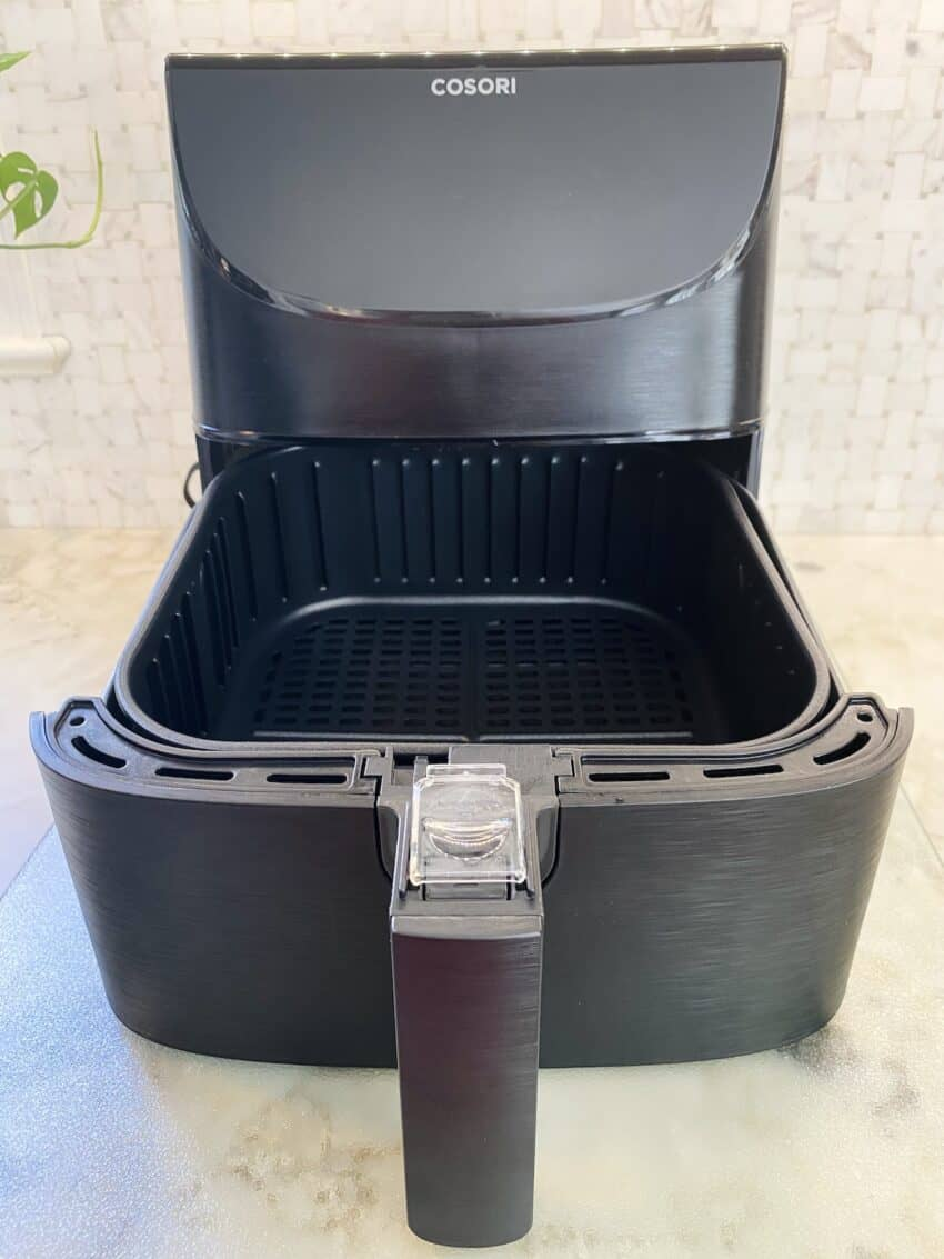 cosori air fryer with basket open
