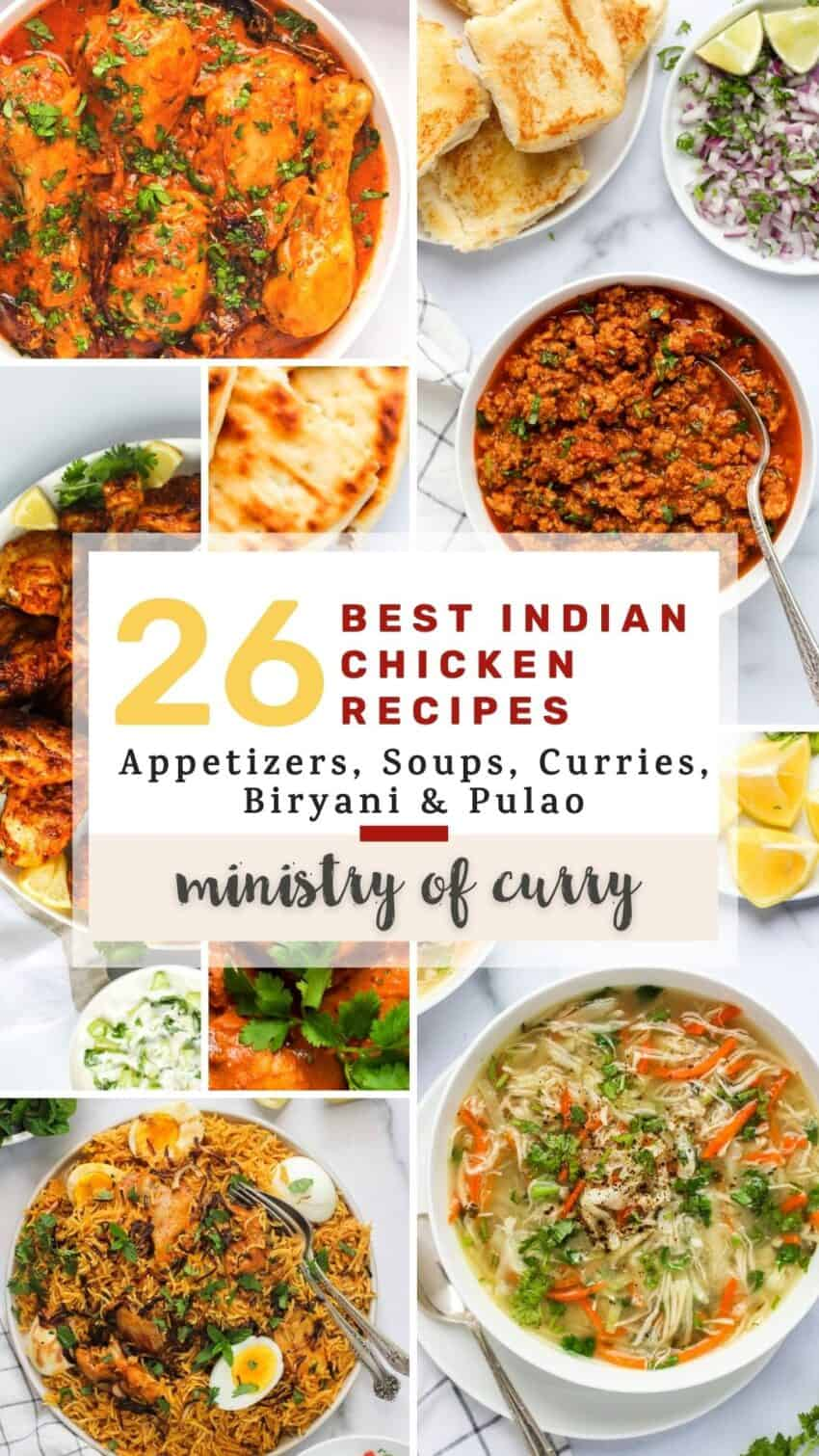 collage of indian chicken recipes