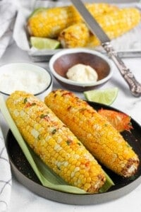 Air fried corn with spices and butter