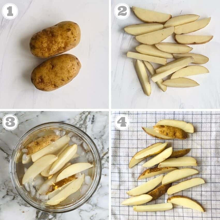 photos one through four showing prepping potatoes