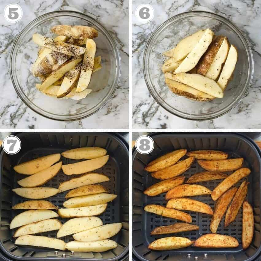 photos five through eight showing seasoning and air frying potato wedges