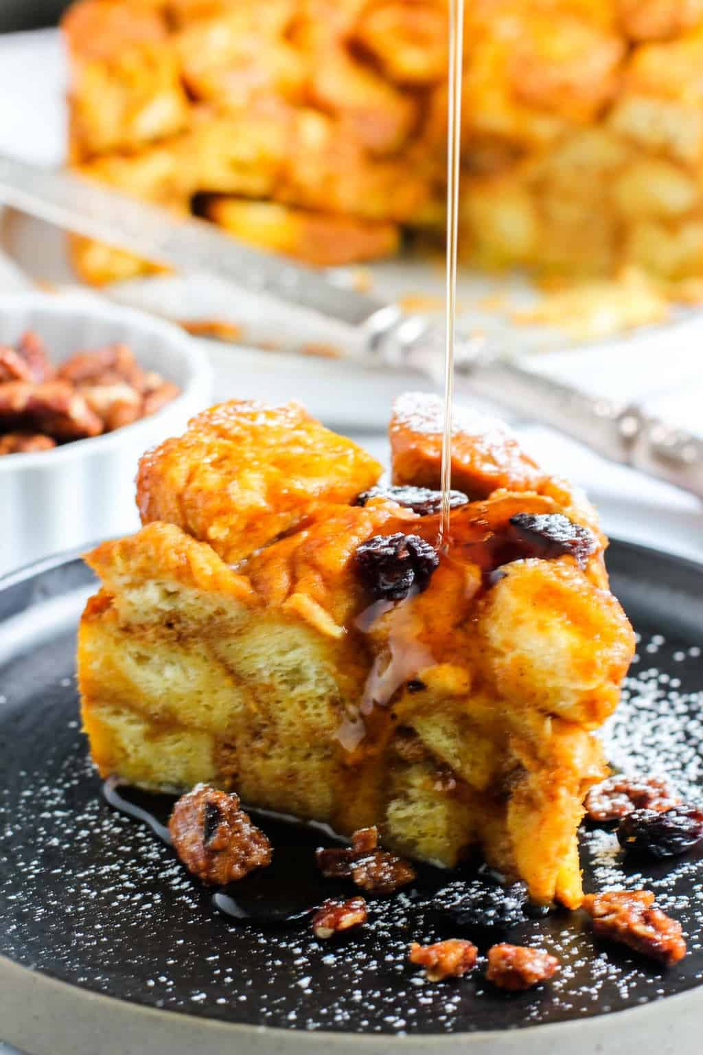 pumpkin bread pudding with maple syrup drizzle