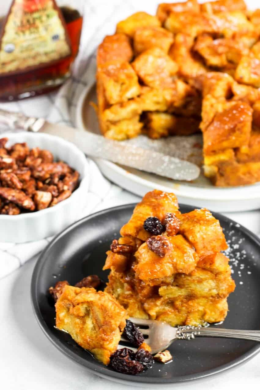 pumpkin bread pudding with pecans and raisins