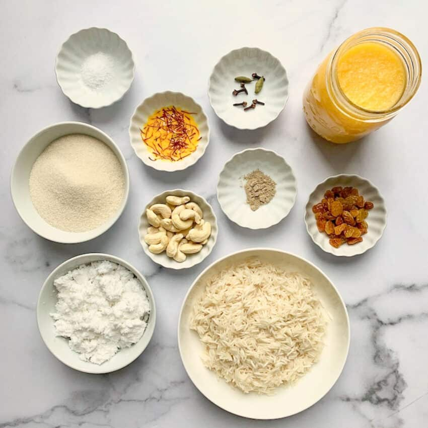 ingredients to make sweet coconut rice in bowls