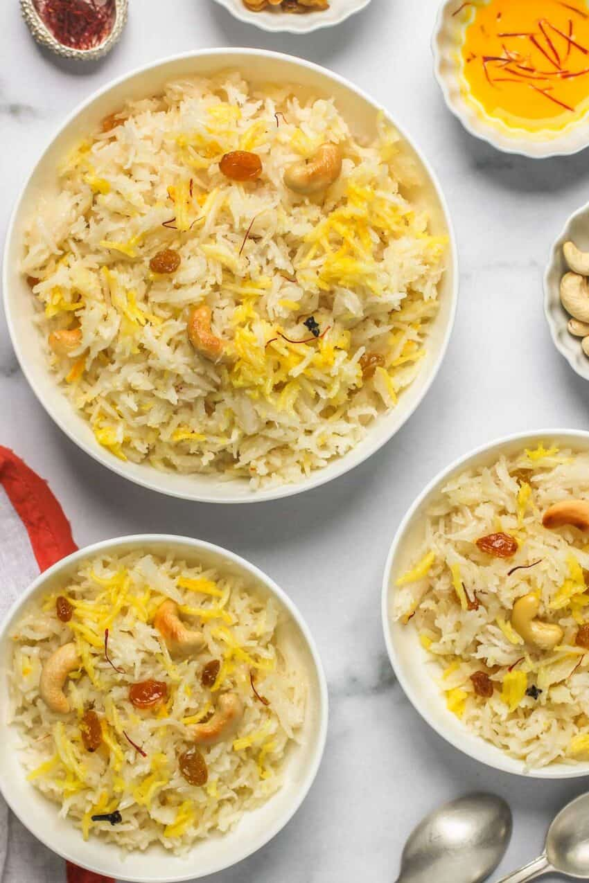 sweet coconut rice served in 3 white bowls