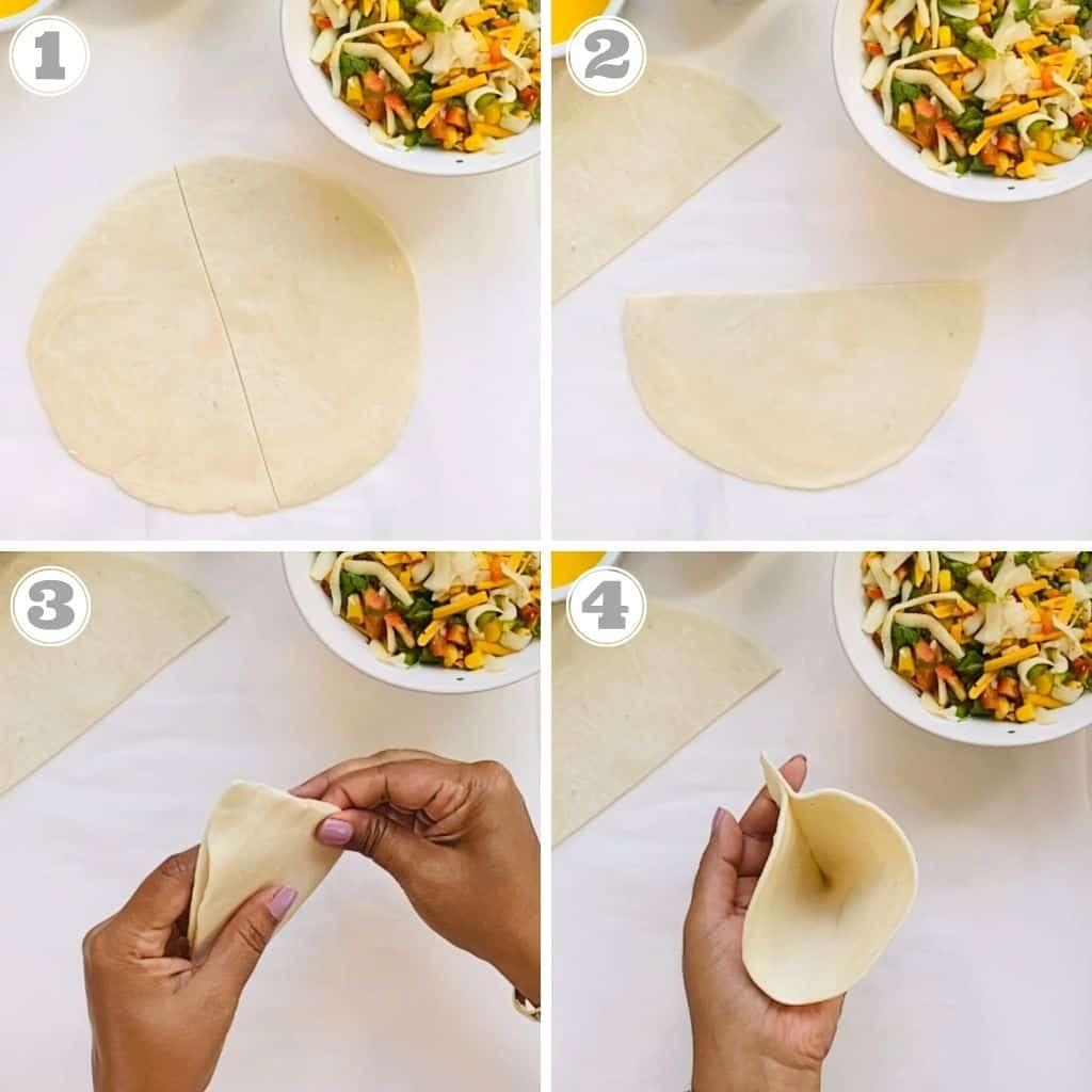 photos one through four showing how to make samosa using frozen paratha dough
