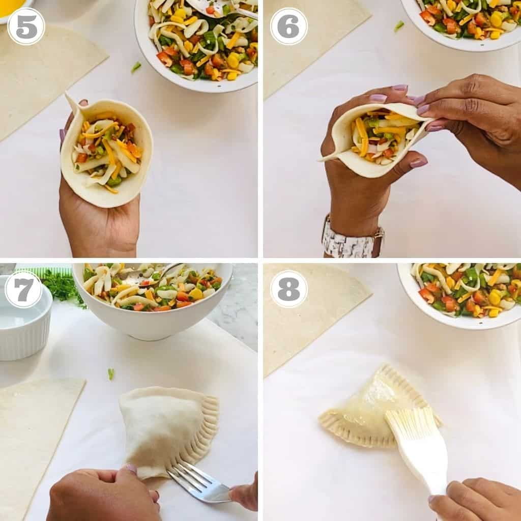 photos five through eight showing how to stuff and seal samosas