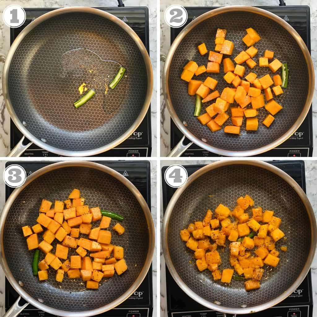 photos one through four showing sauteing spices and pumpkin in a pan