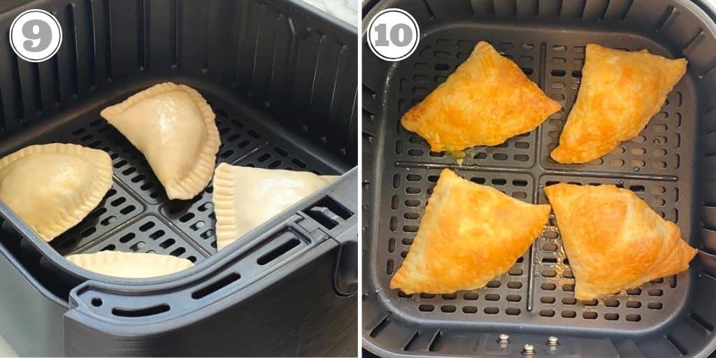 photos nine and ten showing air frying samosas
