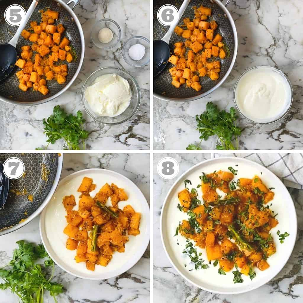 photo five through eight showing cooked pumpkin mixed in yogurt and garnished with cilantro