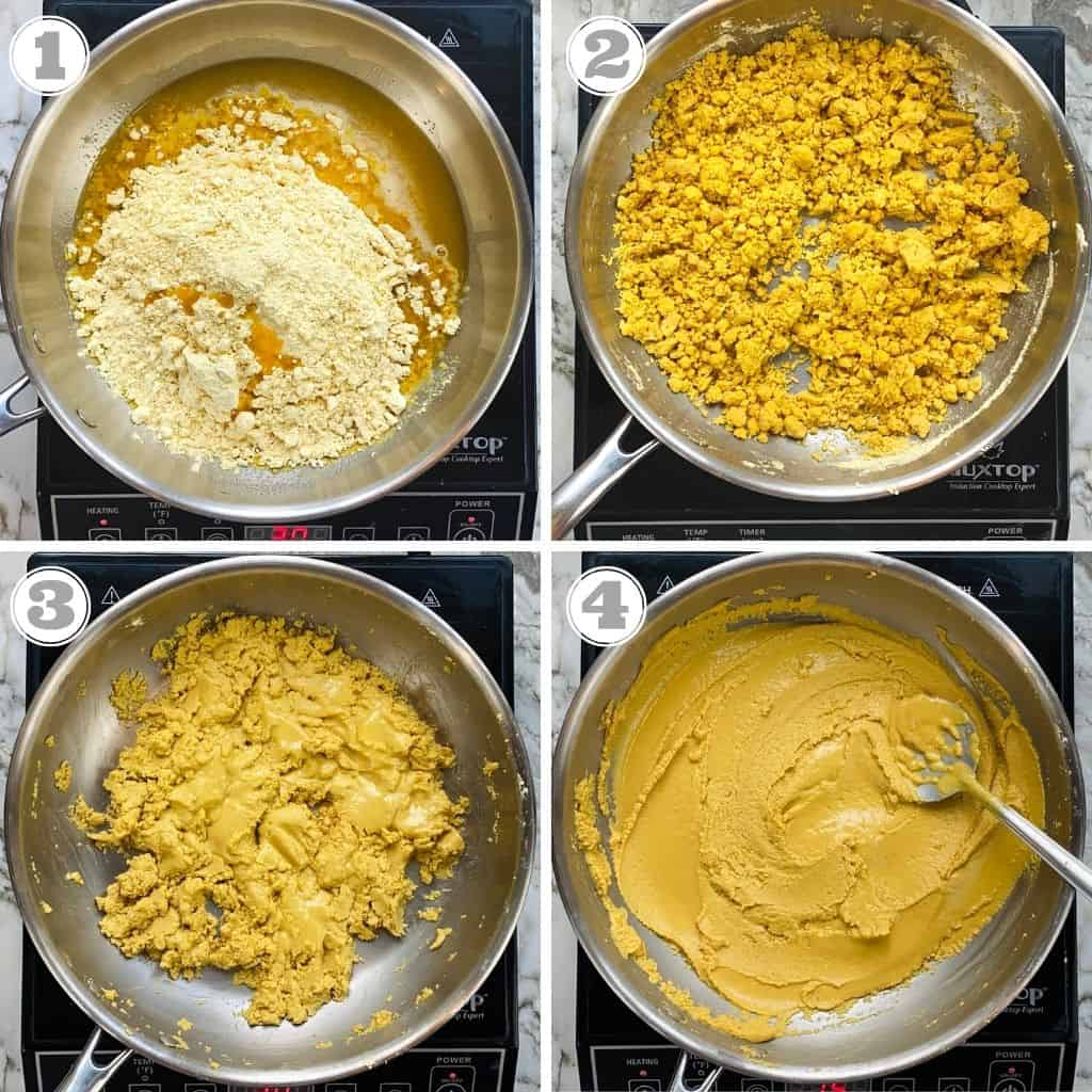 photos one through four showing roasting besan and ghee