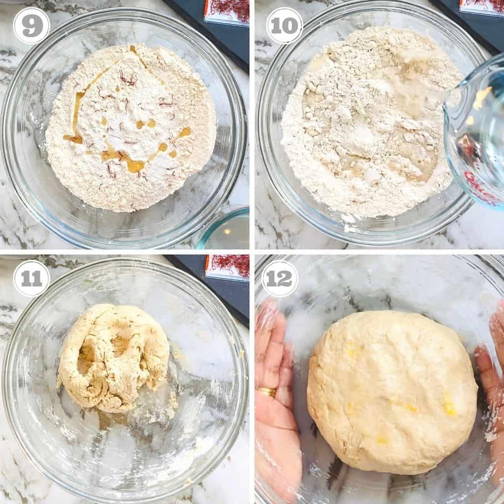 photos nine through twelve showing how to make dough for puran poli