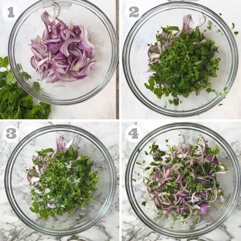 फोटो एक से चार में प्याज के पकोड़े के लिए सब्जी बनाते हुए दिखाया गया है