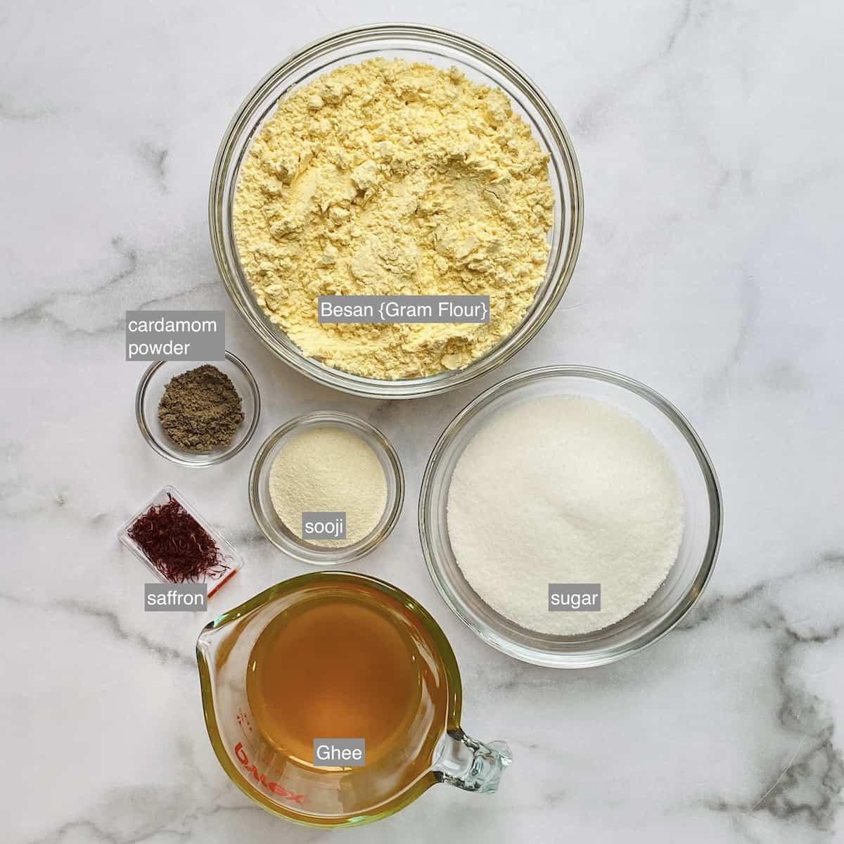 ingredients for besan burfi