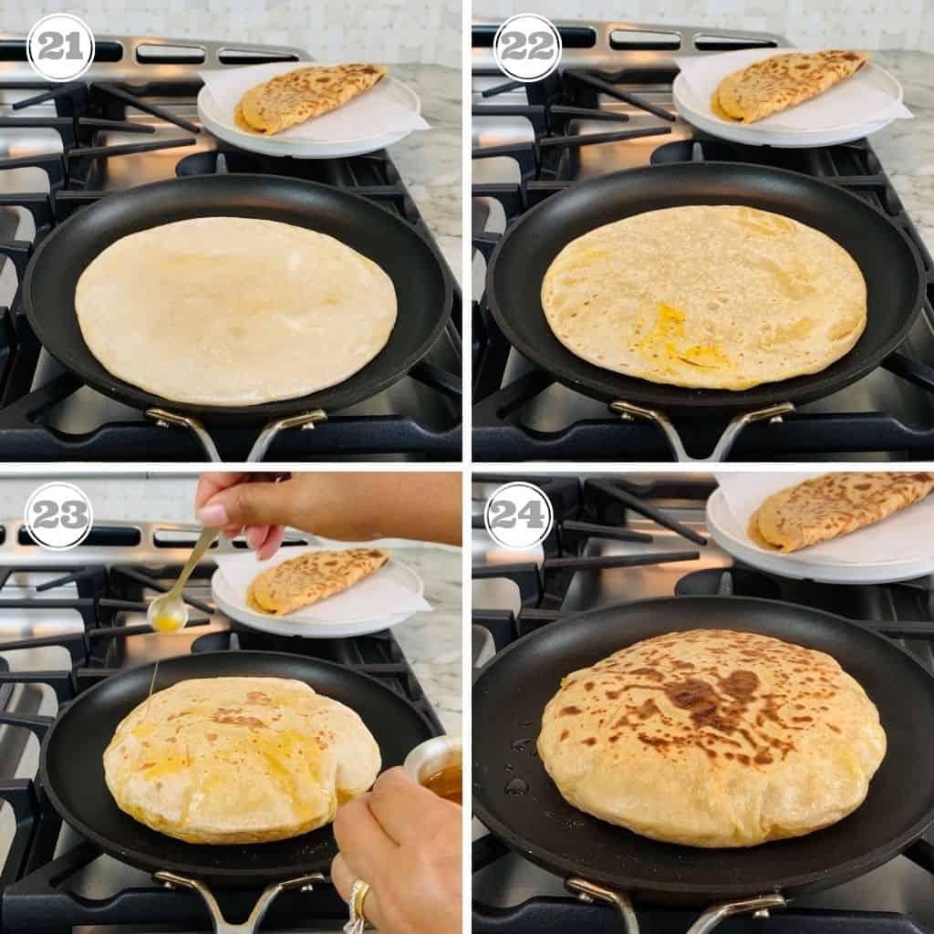 photos twenty one through twenty four showing how to cook puran poli on the pan