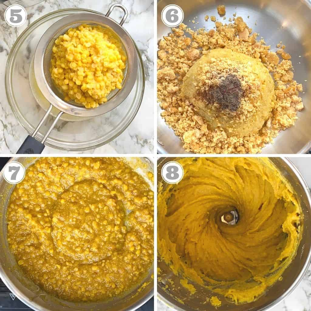 photos five through eight showing how to cook chana dal and jaggery for puran